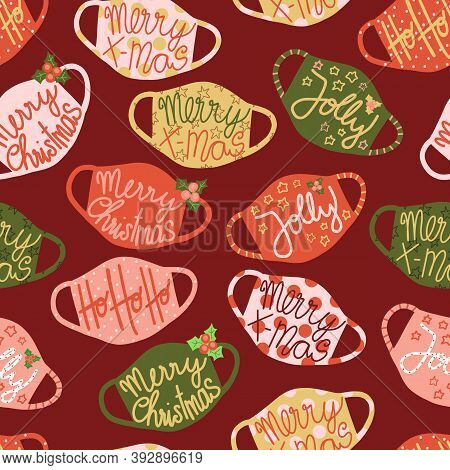 Christmas Face Masks Seamless Vector Pattern. Coronavirus Pandemic Related Holiday Background. Repea