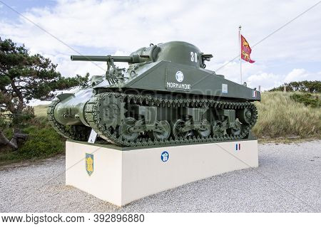 St. Martin De Varreville, Normandy, France - September Circa, 2020. D-day Wwii Monument Commemorate