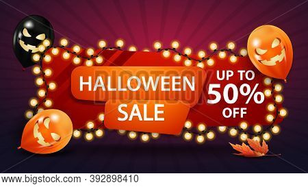 Halloween Sale, Up To 50 Off, Discount Banner With A Yellow Garland Wound Around A Banner And Hallow