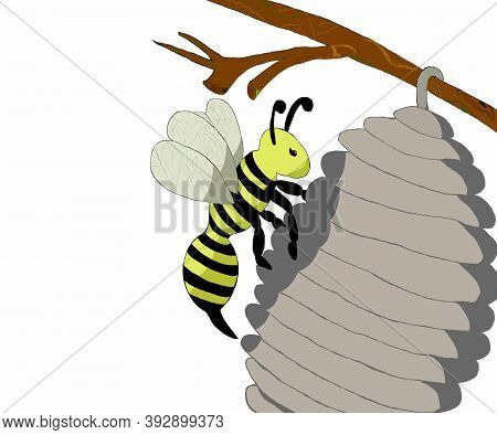 A Cartoon Wasp Sits On Its Hive, A Hive On A Branch.