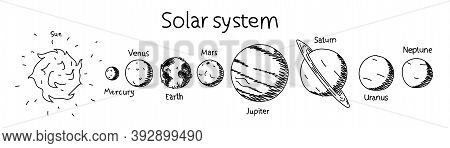 Planets Of The Solar System Hand-drawn Illustration. Vector Educational Poster Of Solar System Plane