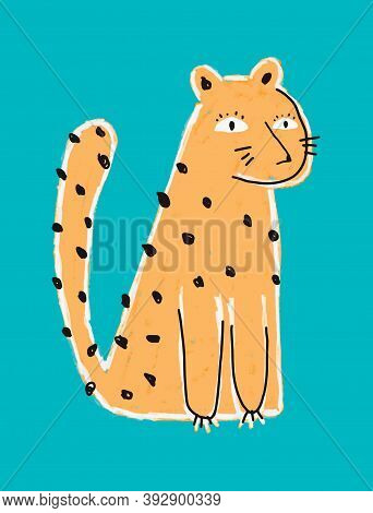 Funny Hand Drawn Safari Party Vector Illustration With Cute Dotted Leopard. Simple Infantile Style N