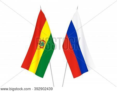National Fabric Flags Of Russia And Bolivia Isolated On White Background. 3d Rendering Illustration.