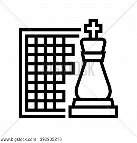 Chess Geek Line Icon Vector. Chess Geek Sign. Isolated Contour Symbol Black Illustration