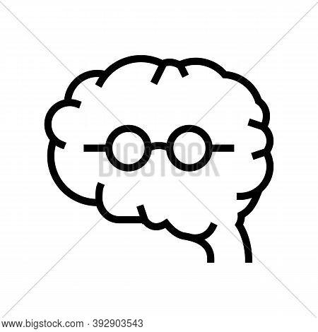 Brain Geek Line Icon Vector. Brain Geek Sign. Isolated Contour Symbol Black Illustration