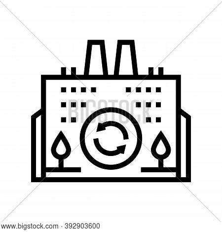 Eco Environmental Factory Line Icon Vector. Eco Environmental Factory Sign. Isolated Contour Symbol