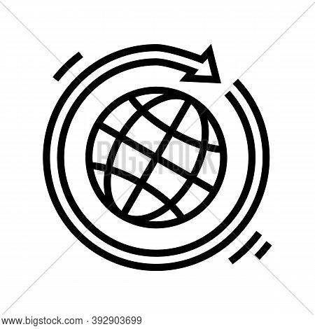 Worldwide Circular Economy Line Icon Vector. Worldwide Circular Economy Sign. Isolated Contour Symbo