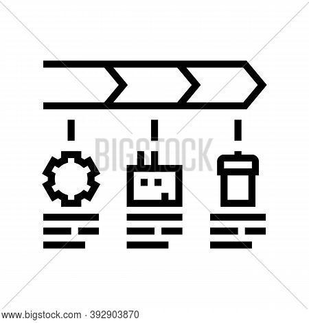 Stages Of Linear Economy Line Icon Vector. Stages Of Linear Economy Sign. Isolated Contour Symbol Bl