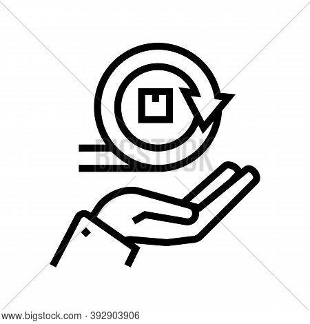 Hand Hold Circular Economy Process Line Icon Vector. Hand Hold Circular Economy Process Sign. Isolat