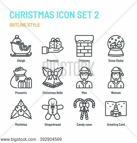 Christmas In Outline Icon And Symbol Set
