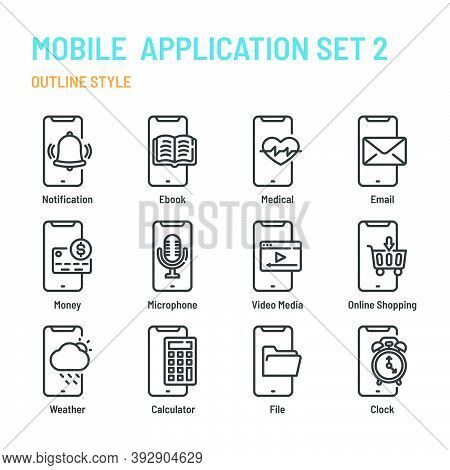 Mobile Application In Outline Icon And Symbol Set