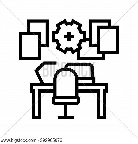 Workplace Organisation Line Icon Vector. Workplace Organisation Sign. Isolated Contour Symbol Black
