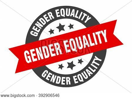Gender Equality Sign. Round Ribbon Sticker. Isolated Tag