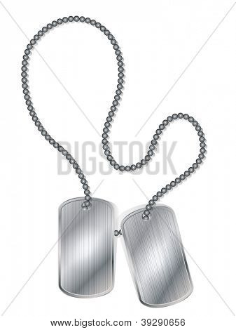 Blank army metal ID tags isolated on white background vector illustration.