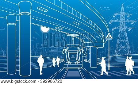 City Scene, People Walk Down The Street, Tram Rides, Night City, Automobile Bridge At Background. El