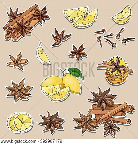 Set Of Stickers Spices For Tea And Coffee: Cinnamon, Lemon, Star Anise. Vector Illustration White St