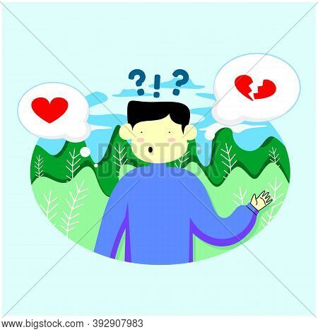Man Choosing Between Two Options With Brain In One Hand And Heart In Another. Vector Trendy Hand Dra