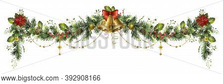 Long Christmas Fir Garland With Jingle Bells, Poinsettia Flower And Red Berries.