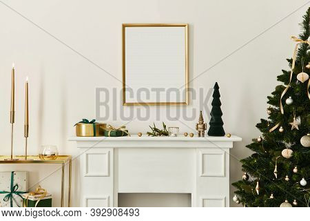 Christmas Composition With Gold Mock Up Poster Frame, White Chimney And Decoration. Christmas Trees