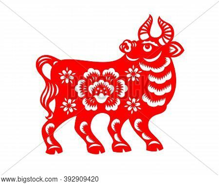 Chinese Zodiac Animals Red Papercutting Ox Cow Chinese New Year Vector Art Design