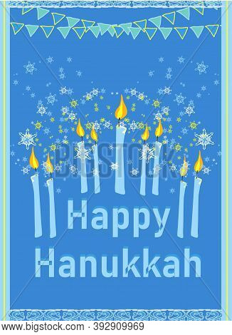 Hanukkah Greeting Card. Hanukkah Menorah Candles , Vector Illustration