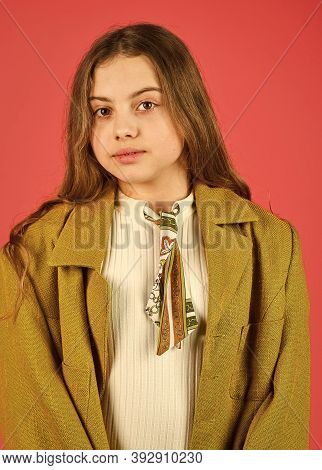 Oversize Concept. Shopping. Trench Coat Fashion Trend. Fashionable Coat. Little Girl Posing Jacket C