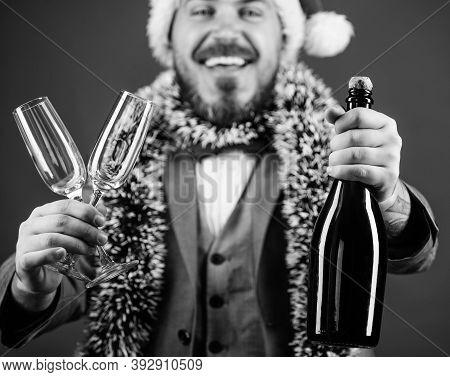 Corporate Christmas Party. Lets Drink Champagne. Boss Santa Hat Tinsel Celebrate New Year Or Christm