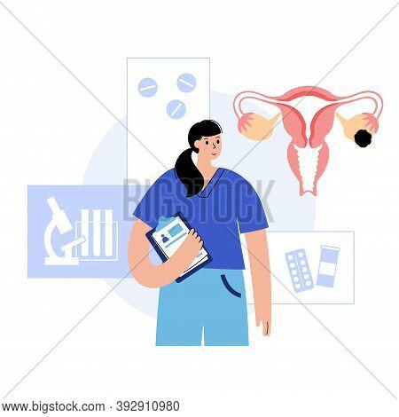 Uterus Anatomy, Ovarian Cyst. Cancer And Tumor Disease. Gynecology Clinic Concept. Doctor Gynecologi
