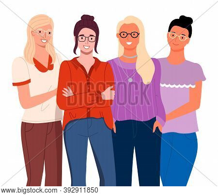 Young Women In Casual Clothes Isolated On White Background. Cheerful Friends Girls In Glasses. Smili