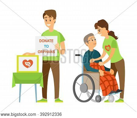 Volunteer Holding Poster Donate To Orphans, Assistant Straightening Blanket On Disabled, Man Sitting