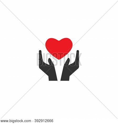 Hands Holding Red Heart On White Background. Charity, Philanthropy