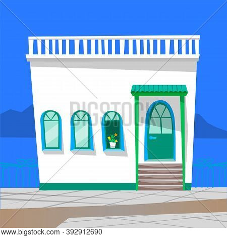 Building Exterior Vector, Cafe Or Diner With Windows And Plant. Staircase And Front View Of Eatery,