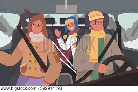 Mother And Father With Child Driving In Winter, Passing Mountains And Frosty Locations. People In Ve