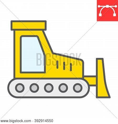 Bulldozer Color Line Icon, Construction And Vehicle, Bulldozer Sign Vector Graphics, Editable Stroke