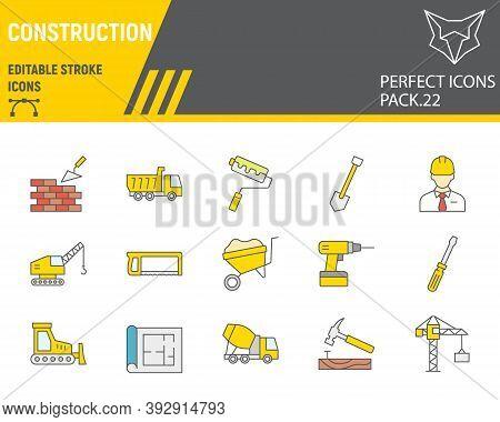 Construction Color Line Icon Set, Repair Collection, Vector Sketches, Logo Illustrations, Constructi