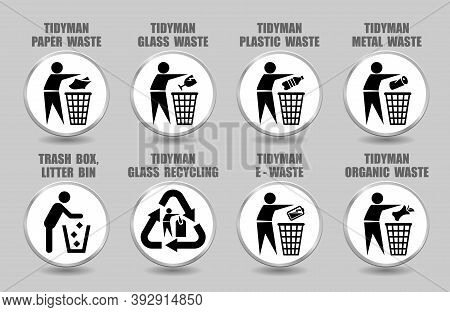 Vector Set Of Tidy Man Icons With Plastic, Glass, Paper, Metal, Organic, Battery Waste Management Si