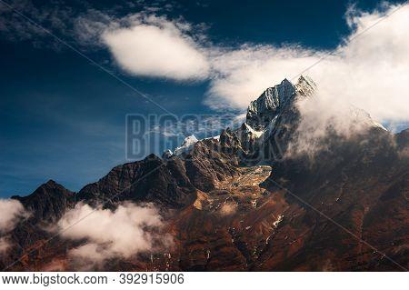 Thamserku Peak In Himalaya Mountains At Sunset.  Khumbu Valley, Himalayas, Everest Region, Nepal