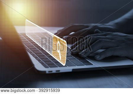 Officer Using Laptop Computer To Input Keyword For Searching And Find Knowledge Information From Int