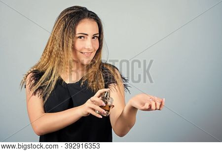 Let Desire Lead You. Lady With Bottle Of Perfume. Morning Grooming. Woman With Bottle Of Perfume. Gi