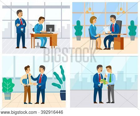 Boss And Employee Vector, Woman In Office Answering Question Of Employer. Supervising Novice At Work