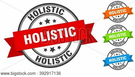 Holistic Stamp. Round Band Sign Set. Label