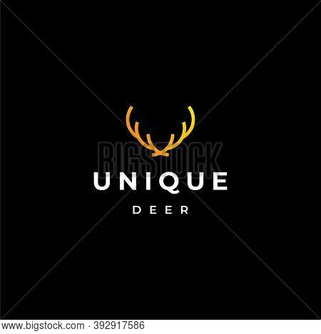 Modern, Simple And Bold Logo About Reindeer Antlers Created With Geometric Lines. Eps10, Vector.