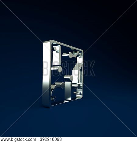 Silver Processor Icon Isolated On Blue Background. Cpu, Central Processing Unit, Microchip, Microcir