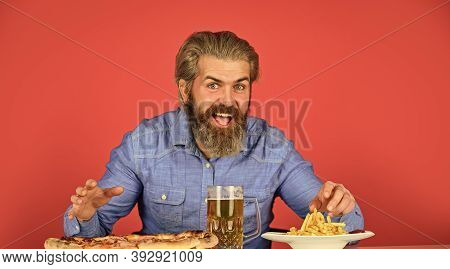 Enjoy Your Meal. Beer And Food. Dinner At Pub. Hungry Man Drink Beer And Eat Snacks. Bar Restaurant.