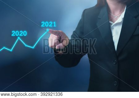 Business Development Year 2021 Goal Concept, Businessman Pointing Graph Corporate Future Growth Up P