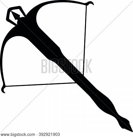 Medieval War Type Of Weapon Arbalest, Concept Icon Crossbow Weapon Black Silhouette Vector Illustrat