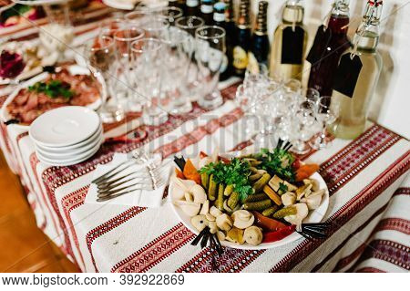 The Holiday Table Cheese, Meat. Served Table With Food. Festive Table. Wedding Table, Food, Drinks,
