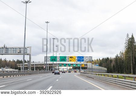 Moscow, Russia 14 09 2020: Toll Road Or Tollway On The Controlled-access Highway. Forced Traffic Jam