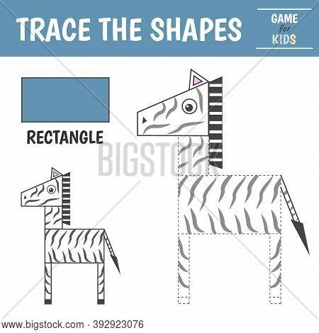 Learn Geometric Shapes - Rectangle. Preschool Worksheet For Practicing Motor Skills. Zebra Of Geomet