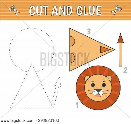 A Lion Of Geometric Shapes. Cut And Glue. Children's Game. Constructor, Application. Vector Illustra